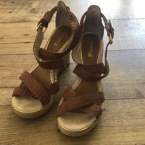 Strapped wedge sandals